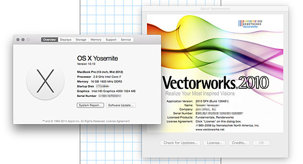 VectorWorks on Yosemite